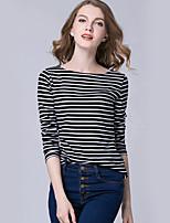 Tee-shirt Femme,Rayé Vacances Décontracté / Quotidien simple Chic de Rue Manches Longues Col Arrondi Polyester