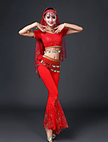 Shall We Belly Dance Outfits Women's Performance Modal Copper Coin 4 Pieces Short Sleeve Dropped Tops Pants Waist Accessory Headpieces