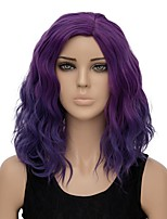 Women Synthetic Wig Capless Short Water Wave Dark Purple Ombre Hair Halloween Wig Costume Wig