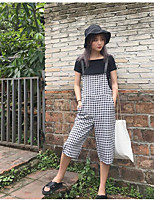 Women's Casual/Daily Simple Summer T-shirt Pant Suits,Solid Plaid/Check Boat Neck Short Sleeve Micro-elastic
