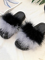 Women's Shoes Feather/ Fur Winter Fur Lining Comfort Slippers & Flip-Flops Flat Heel Round Toe Feather For Casual Red Fuchsia Gray Black
