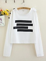 Women's Going out Casual/Daily Sexy Simple Street chic Spring Fall T-shirt,Solid Round Neck Long Sleeves Cotton Others Thin Medium