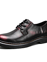 Men's Shoes Real Leather Fall Winter Comfort Oxfords Lace-up For Office & Career Party & Evening Black/Red Black/Silver Black/Gold