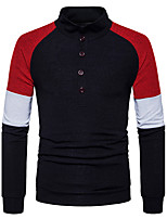 Men's Casual/Daily Simple Regular Pullover,Color Block Stand Long Sleeves Cotton Fall Winter Medium Stretchy