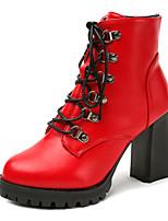 Femme Chaussures Polyuréthane Automne Hiver Confort Bottes Gros Talon Bottine/Demi Botte Lacet Pour Décontracté Noir Rouge