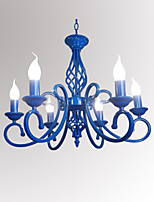 Mediterranean Blue Iron Art Candle Lamp Dining Room Novelty Lighting  6 Heads