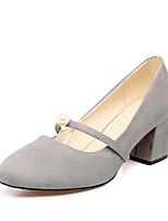 Women's Shoes Fleece Spring Fall Comfort Heels Chunky Heel Square Toe Pearl For Outdoor Office & Career Blushing Pink Red Army Green Gray