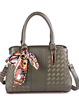 Women Bags All Seasons PU Tote Bowknot Rivet for Formal Office & Career Red Blushing Pink Gray Light Purple Army Green