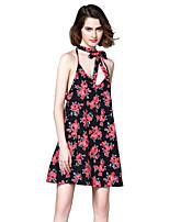 Damen Chiffon Swing Kleid-Party Lässig/Alltäglich Sexy Boho Blumen V-Ausschnitt Mini Übers Knie Ärmellos Polyester Sommer Herbst Hohe