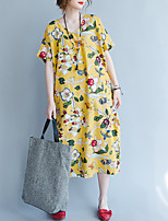 Women's Plus Size Vintage Loose Dress,Floral Round Neck Midi Short Sleeves Linen Fall High Rise Inelastic Medium