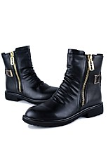 Men's Shoes Leatherette Fall Winter Fashion Boots Boots Mid-Calf Boots Zipper For Party & Evening Black