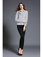SHE IN SUN Women's Casual/Daily Work Simple Spring Fall ShirtStriped Embroidery Shirt Collar Long Sleeves Polyester Medium