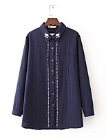 Women's Going out Casual/Daily Sexy Simple Street chic Spring Fall Shirt,Solid Embroidery Shirt Collar Long Sleeves Cotton Thin Medium