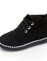 Femme Chaussures Tissu Automne Hiver Confort Bottes Talon Plat Lacet Pour Décontracté Noir Rouge