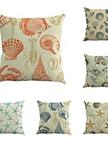 Set Of 6 Vintage Mediterranean Shell Starfish Pillow Cover Classic Square Sofa 45*45Cm