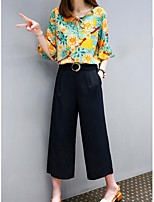 Women's Going out Vintage Summer Blouse Pant Suits,Solid Floral Round Neck ¾ Sleeve