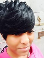Women Human Hair Capless Wigs Black Short Straight Side Part