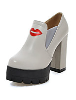 Women's Shoes Leatherette Fall Comfort Novelty Heels Chunky Heel Round Toe For Casual Dress Light Grey Black White
