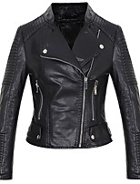 Women's Going out Casual/Daily Simple Street chic Spring Fall Leather Jacket,Solid Cowl Long Sleeve Regular Others