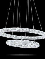 Modern LED Crystal Oval Pendant Lights Lamps Fixtures Chandeliers Crystalline Light 2 Ring Indoor Cristal Ceiling Lighting Lustre Lamps 6000K