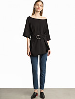 SHE IN SUN Women's Casual/Daily Work Simple Street chic Spring Fall T-shirt,Solid Boat Neck 3/4 Length Sleeves Rayon Medium