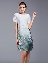 Damen Etuikleid Kleid-Ausgehen Lässig/Alltäglich Übergröße Retro Niedlich Chinoiserie Blumen Rundhalsausschnitt Mini Kurzarm Kunstseide