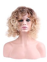 Women Synthetic Wig Capless Short Curly Brown Ombre Hair Layered Haircut Party Wig Halloween Wig Natural Wigs Costume Wig