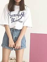 Women's Going out Simple T-shirt,Letter Round Neck Short Sleeves Cotton