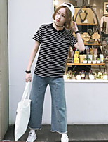 Women's Casual/Daily Simple Summer T-shirt,Striped V Neck Short Sleeves Cotton