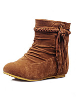 Women's Shoes Nubuck leather Fall Winter Comfort Novelty Fashion Boots Bootie Boots Flat Heel Round Toe Flower For Office & Career Dress