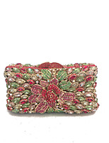 Women Bags Spring Fall Metal Evening Bag Crystal Detailing for Event/Party Blue Red Dark Green