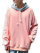 Men's Casual/Daily Simple Hoodie Solid Color Block Hooded Micro-elastic Polyester Spandex Long Sleeve Spring Fall