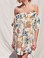 Damen Lose Kleid-Festtage Ausgehen Sexy Retro Blumen Bateau Mini Kurzarm Polyester Sommer Herbst Mittlere Hüfthöhe Mikro-elastisch Mittel