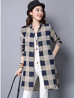 Women's Work Cute Fall Shirt,Plaid Shirt Collar Long Sleeves Cotton Polyester Thin