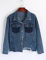 Women's Going out Simple Winter Denim Jacket,Print Shirt Collar Long Sleeve Regular Cotton