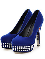 Women's Shoes Suede Spring Fall Comfort Novelty Heels Stiletto Heel Round Toe Crystal For Wedding Party & Evening Blue Red Black