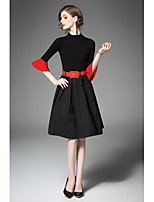 Women's Going out Cute Fall T-shirt Skirt Suits,Color Block Round Neck Long Sleeve Micro-elastic