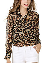 Women's Going out Casual/Daily Simple Cute Summer Fall Shirt,Leopard Shirt Collar Long Sleeves Polyester Medium