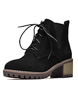 Women's Shoes Nubuck leather Leatherette Fall Winter Fashion Boots Bootie Boots Chunky Heel Round Toe Booties/Ankle Boots Gore Lace-up For