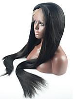 Women Human Hair Lace Wig Peruvian Human Hair Glueless Lace Front 130% Density With Baby Hair Straight Wig Medium Brown Dark Brown Black