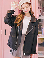 Women's Casual/Daily Punk & Gothic Fall Leather Jacket,Solid Peaked Lapel Long Sleeve Regular PU