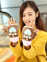 Women's Wool Cotton Wrist Length Half FingerAccessories Casual Cartoon Winter Gloves Keep Warm Lovely Fashion Color Block Fall Winter