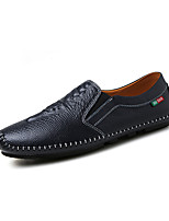Men's Loafers & Slip-Ons Comfort Spring Fall PU Casual Flat Heel Dark Blue Orange Black Flat