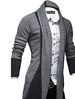 Men's Casual/Daily Long Cardigan,Solid Shirt Collar Long Sleeves Others Winter Medium Stretchy