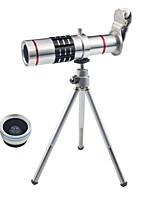 3 em 1 kit de lentes de telefone inteligente lente de telefonia zoom de zoom óptico de 18x lente grande angular de 0,45x lente com lente
