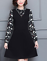 Women's Plus Size Going out Street chic Sheath Dress,Patchwork Crew Neck Knee-length Long Sleeves Polyester Fall Mid Rise Inelastic Medium