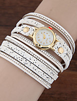 Women's Fashion Watch Bracelet Watch Quartz Rhinestone Leather Band Sparkle Casual Black White Pink
