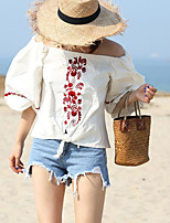 Women's Going out Street chic Summer Shirt,Floral Round Neck 3/4 Length Sleeves Cotton Opaque