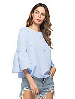 Women's Holiday Casual/Daily Street chic Fall Winter T-shirt,Solid Round Neck 3/4 Length Sleeves Cotton Linen
