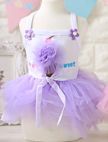 Dog Dress Dog Clothes Casual/Daily Princess Blushing Pink Purple